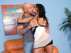 Priya Ray kissing guy while he's squeezing her big boobs
