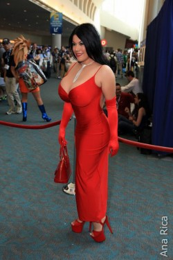 Ana Rica in shiny red dress at San Diego Comic-Con International 2013